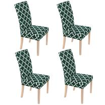 Smiry Chair Covers for Dining Room Set of 4, Morocco Printed Stretchy Dining Room Chair Covers, Washable Parsons Chair Slipcovers for Kitchen, Home, Party (Green)