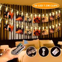 SanGlory 25ft 50 LED Photo Clip String Lights with Remote and Timer, Picture Lights String USB Battery Operated 8 Modes Indoor Fairy Lights Photo Hanging String Holder for Pictures Notes Artwork