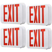 TORCHSTAR LED Red Exit Sign, Battery Backup Emergency Lights, UL-Listed, AC 120V-227V, for Residencial & Commericial, Pack of 4