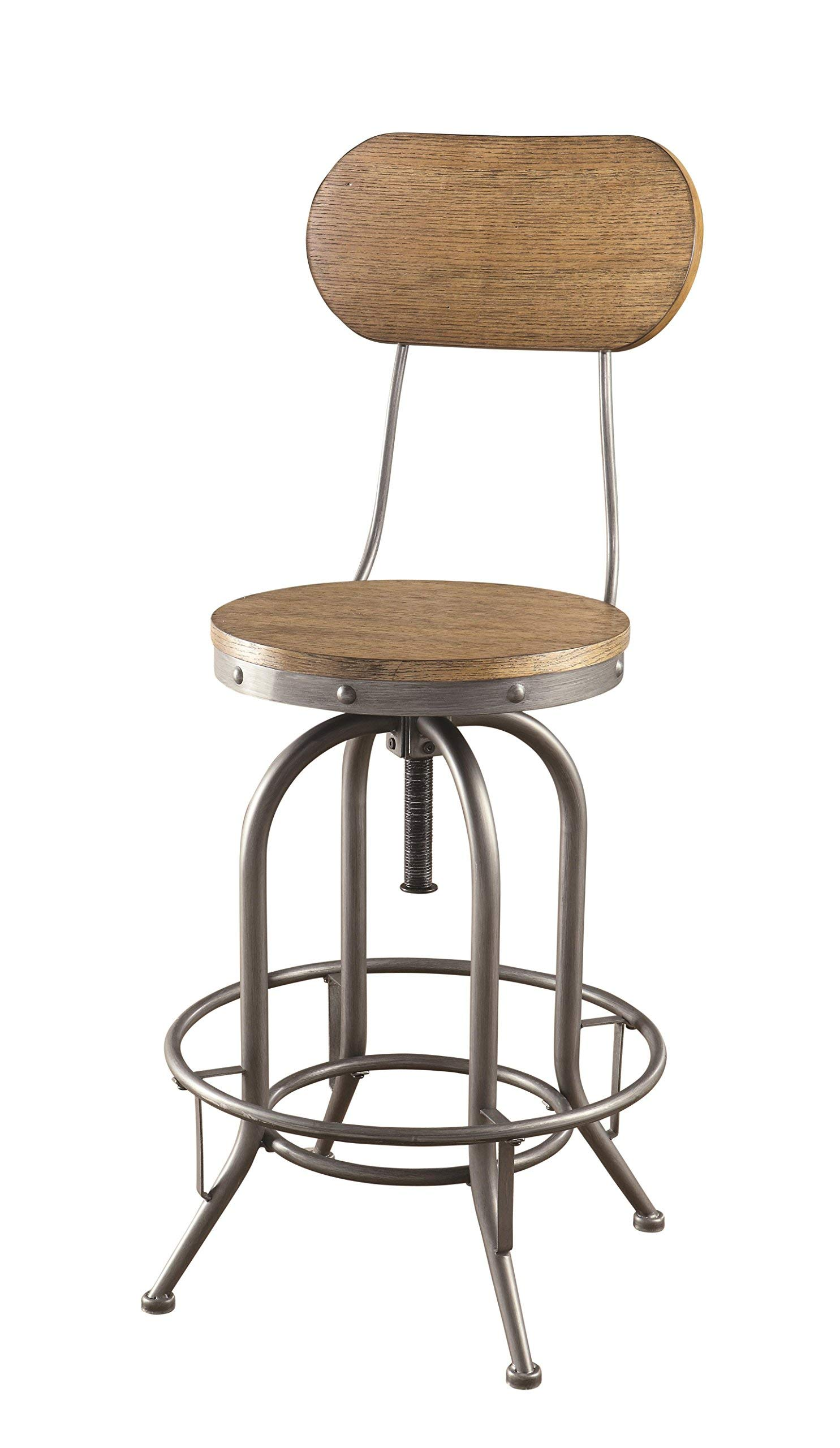 """Coaster Home Furnishings Coaster Industrial Rustic Graphite Adjustable Bar Stool with Wood Back and Seat, 21.25""""W x 46""""H x 21.25""""D, Weathered Oak & Graphite"""