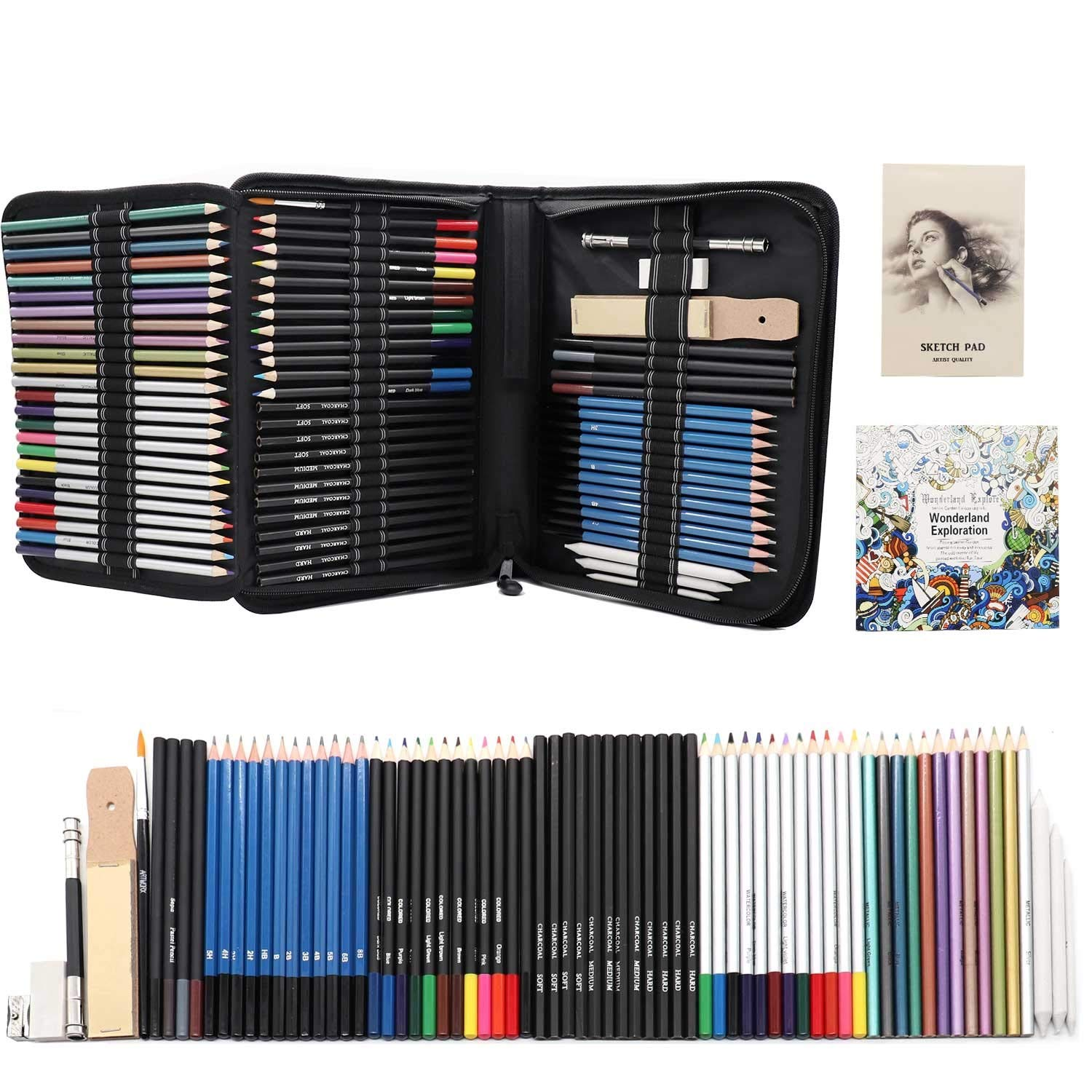Jacriah 74-Piece Arts Supplies Drawing and Sketch Set.Professional Artist Drawing Kit Includes Charcoal Pencils   Graphite Pencils  Colored Pencils   Sketch pad   Zippered Carry Case.