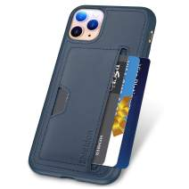SHIELDON iPhone 11 Pro Case, Genuine Leather + TPU Shock Absorption Wallet Cover Case Support Wireless Charging with Card Holder Compatible with iPhone 11 Pro (5.8-inch, 2019 Release) - Dark Blue