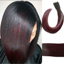 Tape in Human Hair Extensions Silky Straight Skin Weft Ombre Balayage Remy Hair Good Quality Beauty Hair Style 20 Pieces 50g Per Package(Natural Black Fade to Wine Red 14inch)
