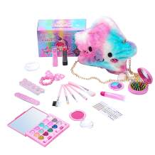Ovida 19Pieces Toddler Makeup Kit Toys Safe Washable Pretend Play Makeup for Little Girls Age Over 6 Birthday Gifts Princess Party Dress Up Including Lipstics, Eyeshadow, Blush, Cosmetic Bag