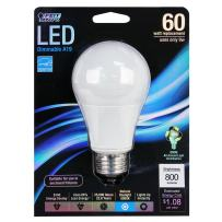 Feit Electric BPOM60/850/LED Dimmable Multi-Use Led Bulb, 9.5 W, 120 V, A19, Medium Screw E26, 25000 Hr, Daylight