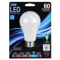 Feit Electric BPOM60/850/LED Dimmable Multi-Use Led Bulb, 9.5 W, 120 V, A19, Medium Screw E26, 25000 Hr, Daylight