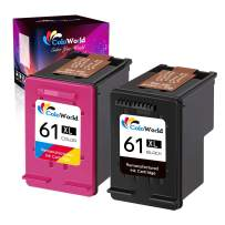 ColoWorld Remanufactured Ink Cartridges Replacement for HP 61 XL 61XL use with HP Envy 4500 5530 4501 OfficeJet 4630 2622 Deskjet 2540 1512 2541 1056 1000 2542 Printer (1 Black, 1 Tri-Color, 2-Pack)
