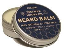 Evarne Beard Balm with Beeswax & Jojoba Oil, 100% Natural & Ultra Rich, for Fuller Thicker Beard - Smooth Style Nourish 2 FL OZ