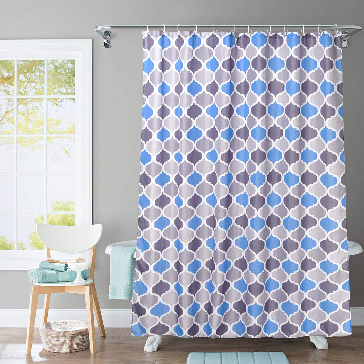 JRing Shower Curtain Polyester Fabric Machine Washable with 12 Hooks 72x72 Inch (Bluegrey)