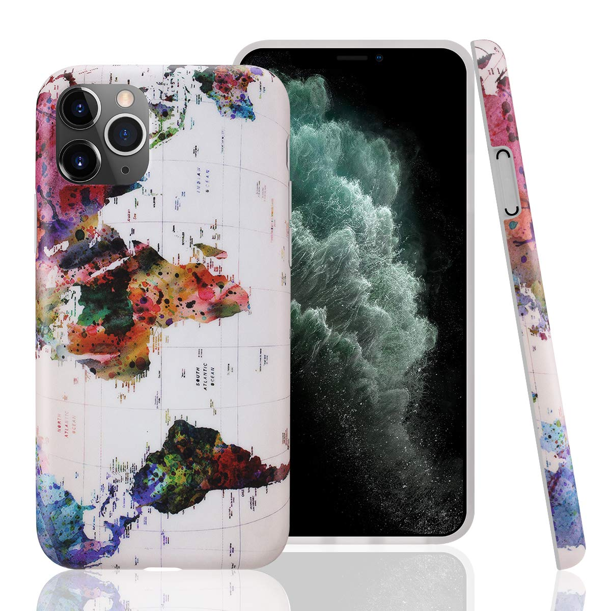 GOLINK Case for iPhone 11 Pro,World Map Slim-Fit Ultra-Thin Anti-Scratch Shock Proof Dust Proof Anti-Finger Print TPU Gel Case for iPhone XI Pro 5.8 inch(2019 Release)-Map