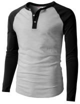 H2H Mens Casual Premium Slim Fit T-Shirts Henley Long & 3/4 Sleeve Summer Clothes