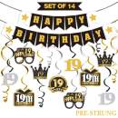 LINGTEER 19 Birthday Decorations Set - Happy 19th Birthday Party Swirls Streamers Crown Glasses Gift Box Sign | Happy Birthday Garland Banner Cheers to Nineteen Years Old Birthday Party Supplies