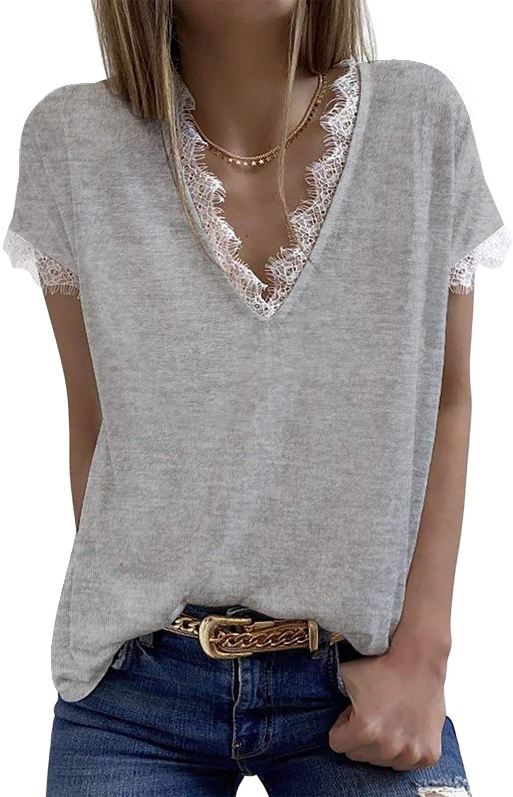Womens V Neck Lace Tank Tops Summer Short Sleeve Loose Casual Shirts