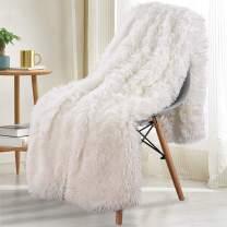 Noahas Super Soft Shaggy Longfur Throw Blanket - Snuggly Fuzzy Faux Fur Blanket - Lightweight Warm Cozy Plush Sherpa Fleece Blanket - for Couch Sofa Bed Photo Props, Cream, 60x80 inch