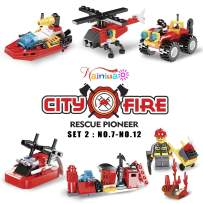 222Pcs Fire Rescue Vehicles Building Blocks Set , 6 Different Models filled in 6 Easter Eggs Including Fire Boat,Helicopters and Fire Truck for Kids Easter Egg Fillers, Easter Basket Fillers #7-#12