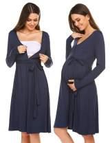 Ekouaer Maternity Sleepweaar Nightgown Long Sleeve Delivery/Labor/Nursing Dress Hospital Gown for Breastfeeding