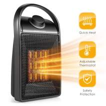 Portable Space Heater, Adjustable Thermostat Indoor 750W/1500W PTC Ceramic Electric Heater with Overheat Protection & Tip-Over Protection Personal Desk Heater Quick Heat up for Home & Office