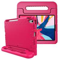 Fintie Case for iPad Pro 11 Inch 1st Generation 2018 [Supports 2nd Gen Pencil Charging Mode] - Kiddie Series Light Weight Shock Proof Kids Friendly Protective Stand Cover with Pencil Holder, Magenta