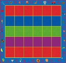 Kid Carpet Abc Rainbow Seating Nylon Area Rug 30, 12' x 10', Multicolored