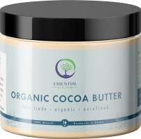 Essential Living: Unrefined Cocoa Butter - For Raw and Organic Lip Balms, Body Lotion, Body Butter, Body Scrub and Organic Soap Making - 16-oz. Jar - 100% Natural and Fair Trade