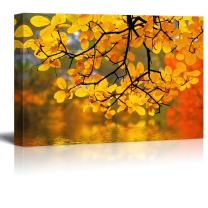 wall26 - Yellow Branch Trees Framing a Lake - Canvas Art Home Art - 24x36 inches