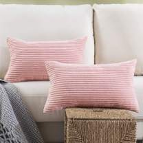 Woaboy Pack of 2 Striped Corduroy Decorative Pillow Cover Cozy Square Throw Pillowcase Super Soft Cushion Cases for Chair Bed Couch Sofa Living Room Office 12 x 20Inch 30 x 50cm Pink