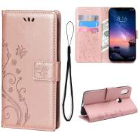 Teebo Wallet Case for Xiaomi Redmi Note 6 Pro Kickstand Card Slots Holder Leather Girls Cases [Butterfly Flower] Heavy Duty Flip Case Cover for Xiaomi Redmi Note 6 Pro(Rose Gold)