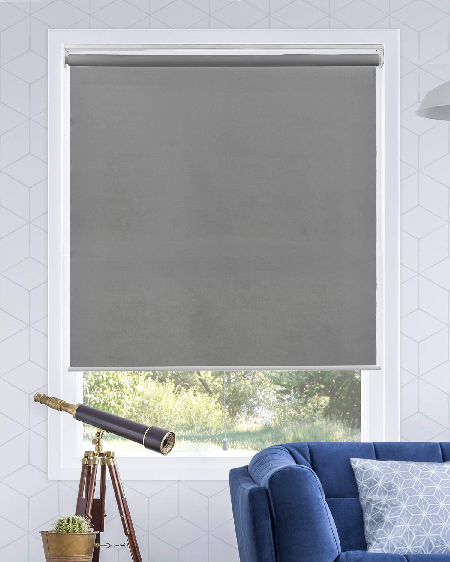 """Chicology Cordless Roller Shades Snap-N'-Glide, Light FilteringPerfect for Living Room/Bedroom/Nursery/Office and More.Urban Grey (Light Filtering), 23""""W X 72""""H"""