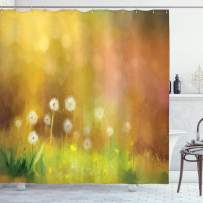 """Ambesonne Flower Shower Curtain, Hazy Dandelion Field Wild Nature Pastel Grass Spring Themed Floral Work of Art, Cloth Fabric Bathroom Decor Set with Hooks, 75"""" Long, Yellow Green"""