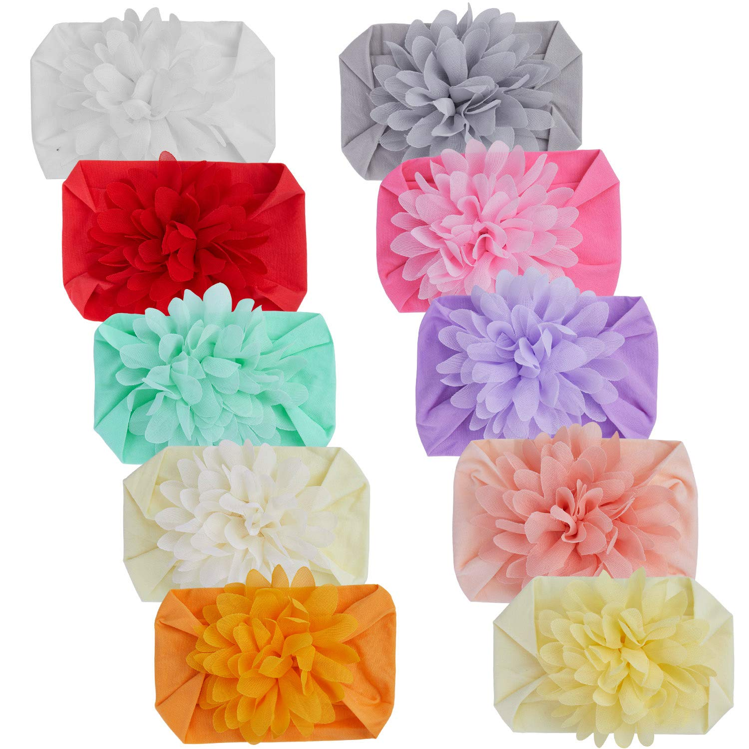 Senbowe 10 Pack Baby Girls Headbands Chiffon Flower Soft Strecth Hair Band Hair Accessories for Baby Girls Newborns Infants Toddlers and Kids