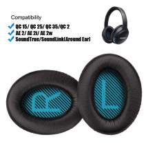 QC25 Replacement Ear Pads Ear Cushion Replacement Compatible with Bose QuietComfort QC 2 15 25 35 for QC2 QC15 QC25 QC35 SoundLink SoundTrue Around-Ear AE2(Black+Blue L/R Mesh)
