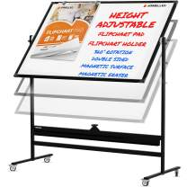 Mobile Whiteboard with Stand - 60x46 Adjustable Height Dry Erase Board with Stand - 360° Reversible Large White Board on Wheels - Portable Rolling Whiteboard Easel, Flip Chart Pad and Holders | Black