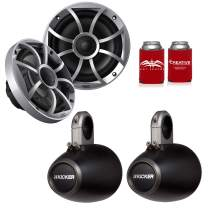 """CreativeAudio Wet Sounds 1-Pair OE-65ic-S 6.5"""" OEM Replacement Speakers W/Silver Grill + Kicker 12KMTES 6.5"""" Black Tower Pods"""