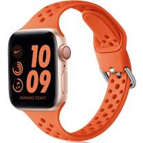 Henva Slim Breathable Band Compatible with Apple Watch SE Series 6 5 4 3 2 1 for Women Girls, Soft Silicone Replacement Band Compatible with iWatch 38mm 40mm, Orange