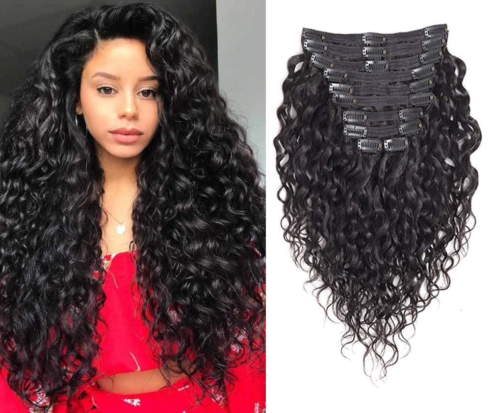 Rolisy Natural Curly Clip in Human Hair Extensions,Real Soft Thick 8A Human Hair for Women,Natural Wave Hair Extensions Clip Ins,Natural Black Color,10Pcs,120 Gram,20 Inch