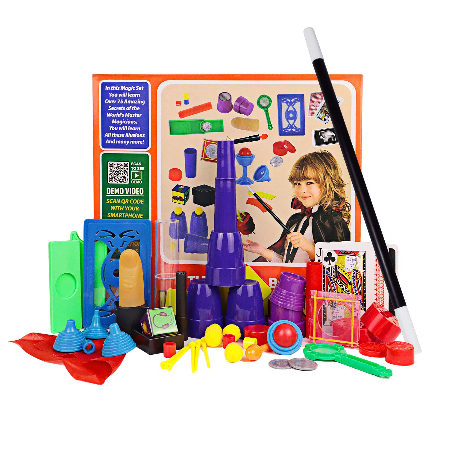 HAPTIME Kids Magic Tricks Kit for Beginners, Little Magician Illusions Deck Performance, Secrets of Levitation by Magic Maker, Children's Game, , Best Age for 4 5 6 7 8 9 10 Year Old Boy or Girl
