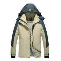 Spmor Women's Waterproof Ski Fleece Jacket Mountain Rain Winter Coat Windproof Skin Hooded Jacket Khaki Small