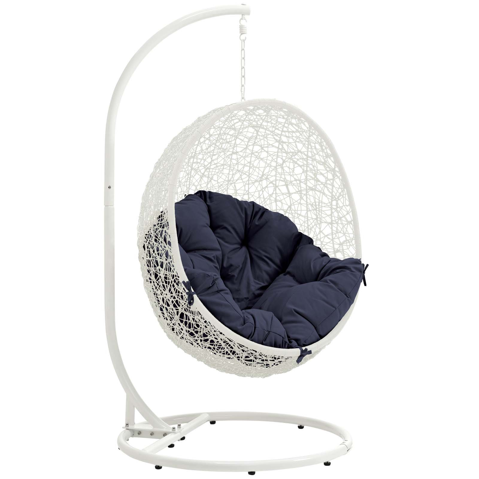 Modway Hide Wicker Rattan Outdoor Patio Porch Lounge Egg Swing Chair Set with Stand in White Navy