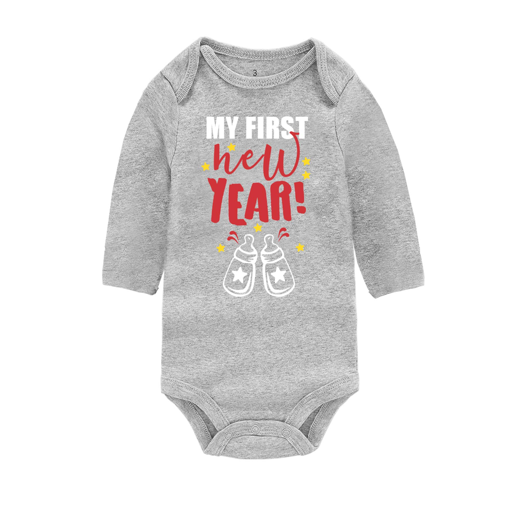 Infant Bodysuit My First New Year Romper Outfit Newborn Baby Long Sleeve One-Piece Jumpsuit