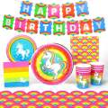 Rainbow Unicorn Party Supplies Decorations, (Standard) Birthday Party Pack Includes a 66 Piece Set (Unicorn Birthday Decoration for 8 Guests), Birthday Supplies by Prime Party