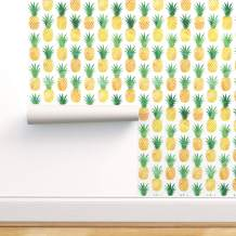 Spoonflower Peel and Stick Removable Wallpaper, Pineapple Pineapples Watercolor Summer Fruit Watercolor Pineapple Pineapple Print, Self-Adhesive Wallpaper 24in x 108in Roll