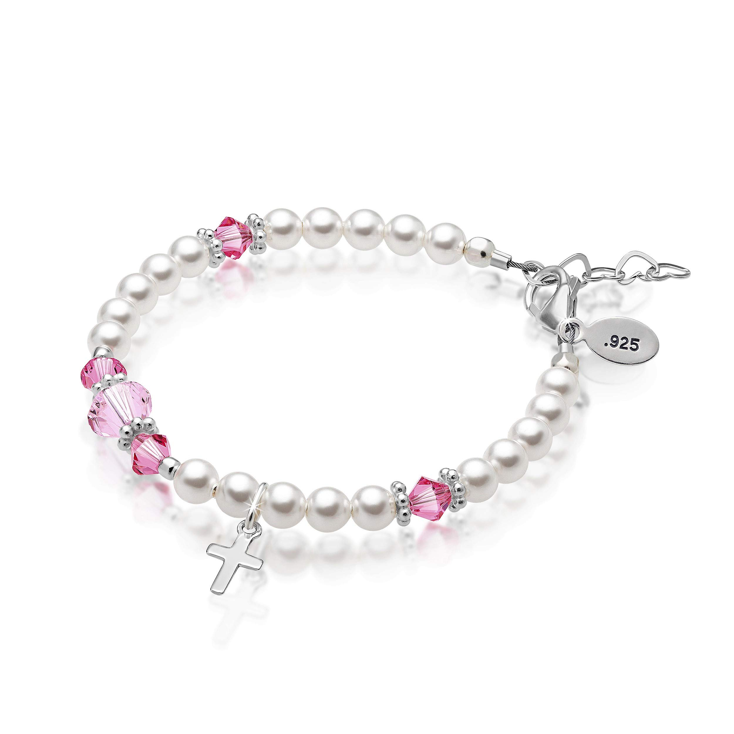 Baby Crystals Baptism Bracelet for Girls - Sterling Silver Cross Charm Bracelet - Swarovski Crystals for Baptism or Christening Jewelry gifts (4-12 Years) First Communion Jewelry for Girls