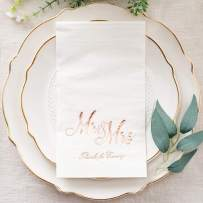 "Crisky Mr & Mrs Dinner Napkins Rose Gold Wedding Dinner Napkins Disposable Decorative Towels for Wedding Shower Banquet, Elegant Rose Gold Wedding Rehearsal Dinner Decoraions,50 Pcs, 3-ply, 12""x16"""