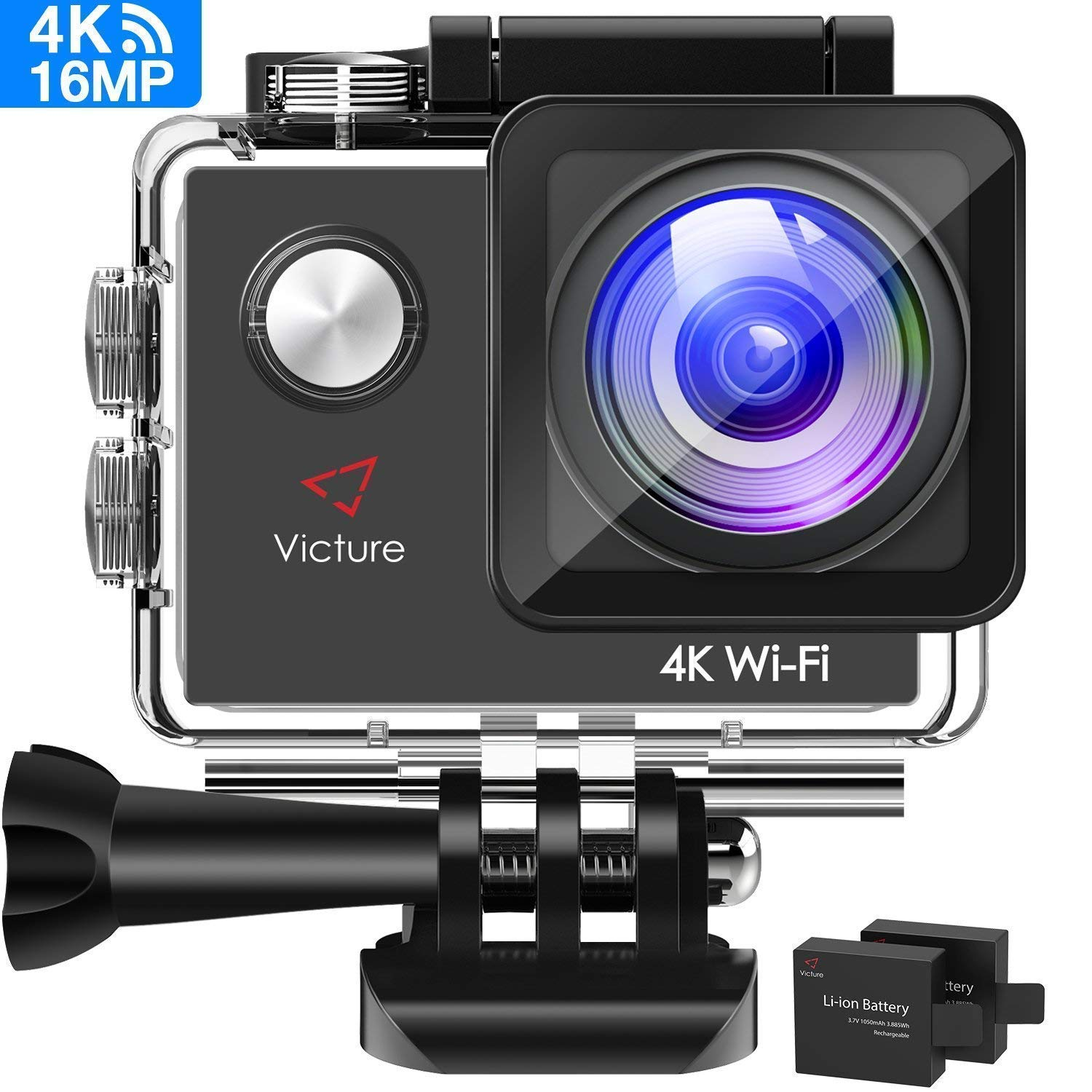 Victure AC600 4K 16MP Action Camera PC Webcam 30M Underwater Recording Camera with 170° Wide Angle Lens WiFi Sports Video Camera with 2 1050mAh Rechargeable Batteries and Mounting Accessories Kit