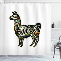 "Ambesonne Llama Shower Curtain, Sugar Skull Style Alpaca Animal Skeleton and Colorful Floral Details Day of The Dead, Cloth Fabric Bathroom Decor Set with Hooks, 75"" Long, Beige Black"