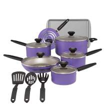 SilverStone Culinary Colors 2 Nonstick Cookware Pots and Pans Set, 15 Piece, Purple