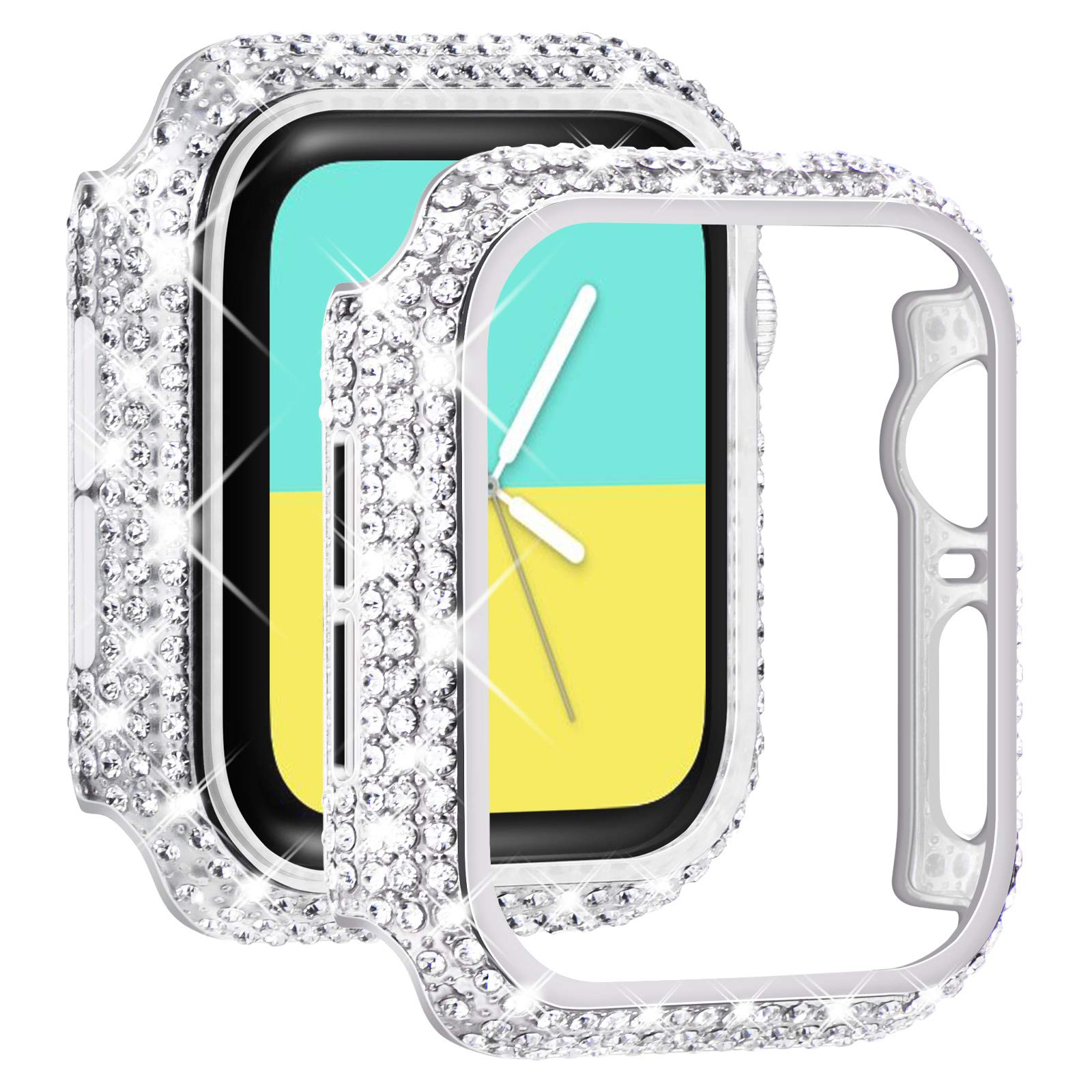 NewWays 2-Pack Bling Cases Compatible for Apple Watch Case 38mm 40mm 42mm 44mm, Fully Paved Diamonds Protective Bumper for iWatch SE Series 6 5 4 3 2 1 (40mm, Silver+Clear)
