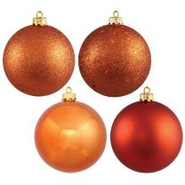 Vickerman 4-Finish Ornament Set, Includes 32 Per Box, 3-Inch, Burnish Orange