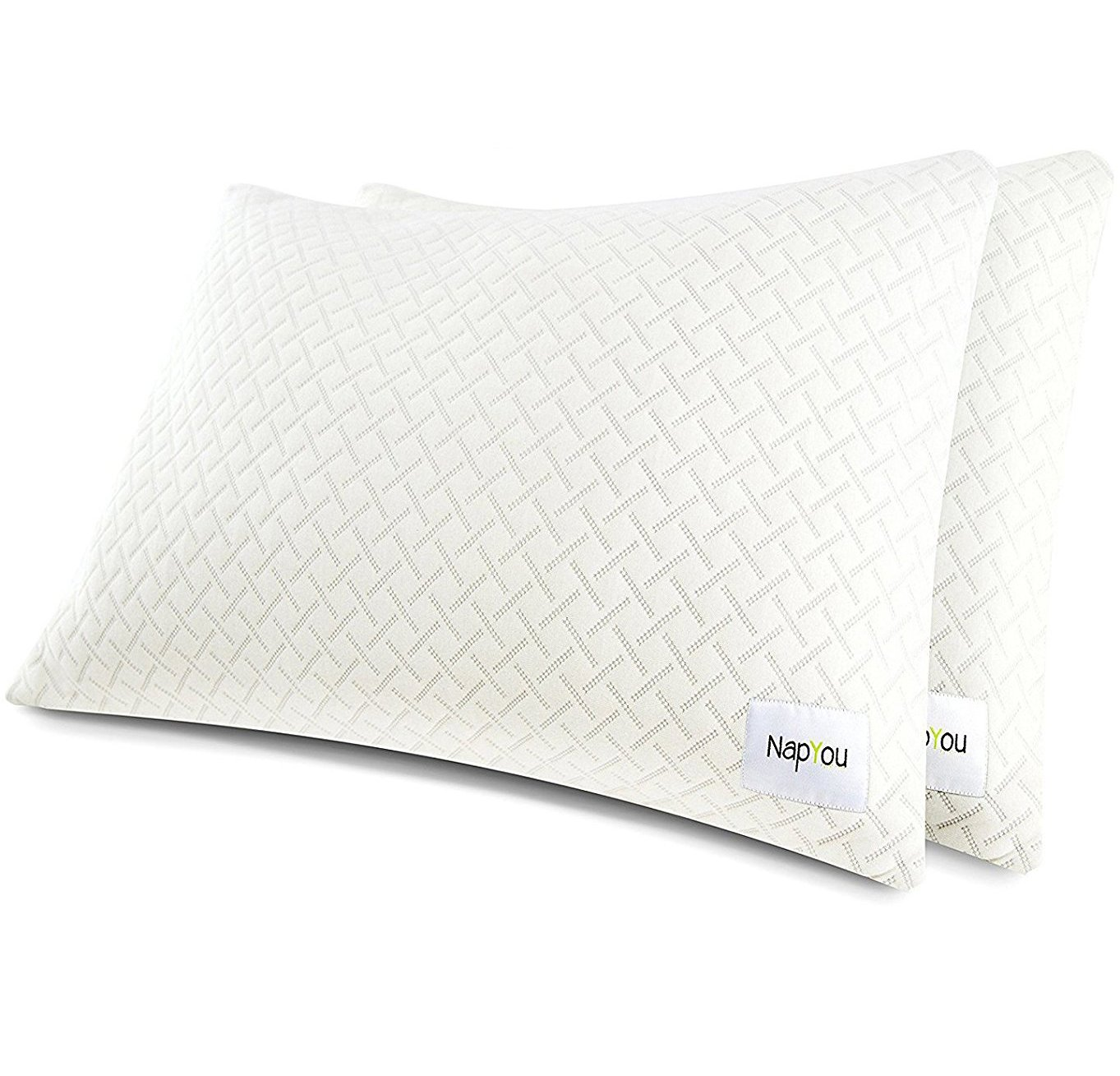 NapYou Official Amazon Exclusive (2 Pack) Shredded Certipur Memory Foam Pillow with Unique and Luxury Pillow Cover Design for Ultimate Breathability and Density Made with Organic Cotton (Standard)