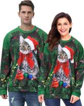 Unisex Ugly Christmas Sweatshirt Sweater Couples 3D Cat Dog with Santa Hat Print Women Men Xmas Party Sweater Pullover (A Starry Sky Pizza Cat Sweater, X-Large)